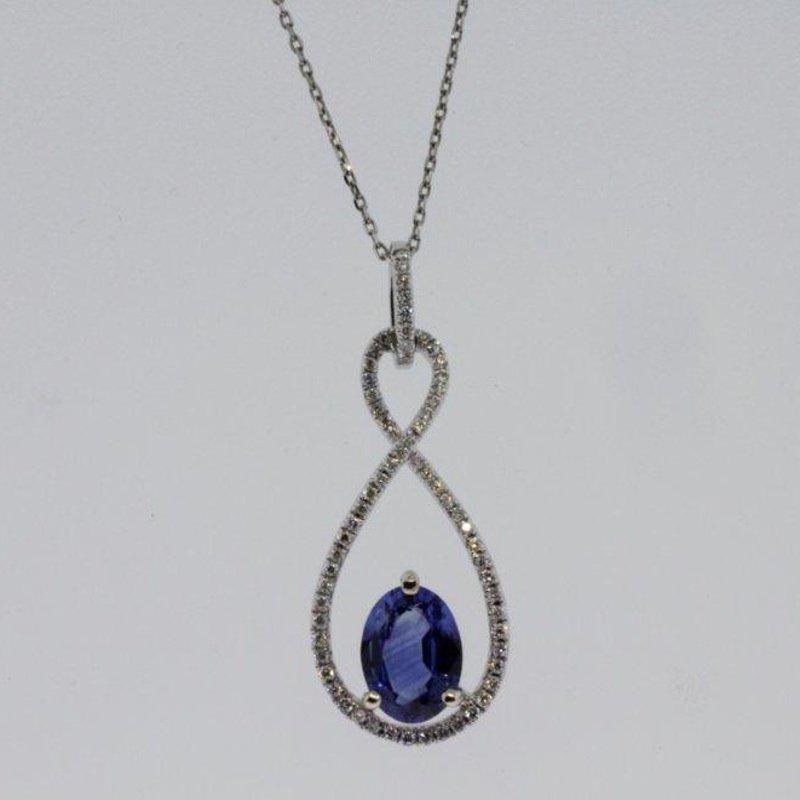Antony Jewelers Infinity style pendant with diamonds and sapphire