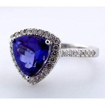 Trillion shape sapphire engagement ring