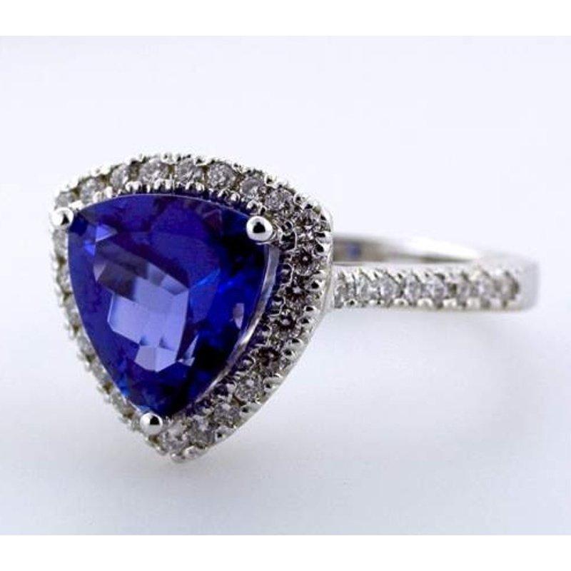 Antony Jewelers Trillion shape sapphire engagement ring