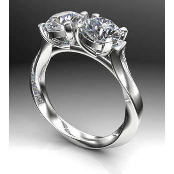 Engagement ring with diamonds intertwined