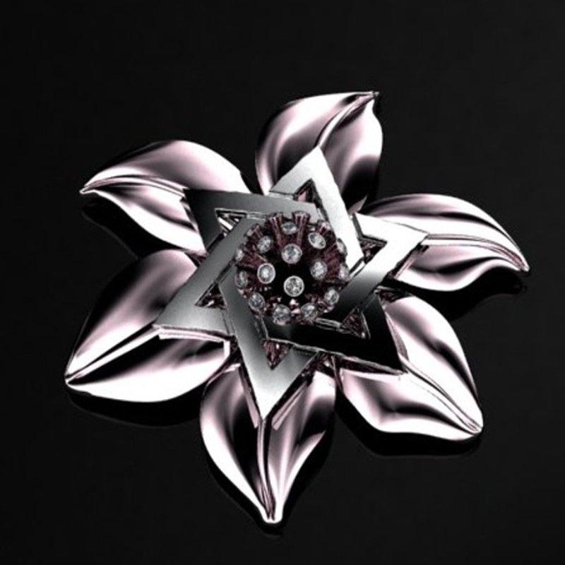 Antony Jewelers  Gold pendant:Flower with Star of David