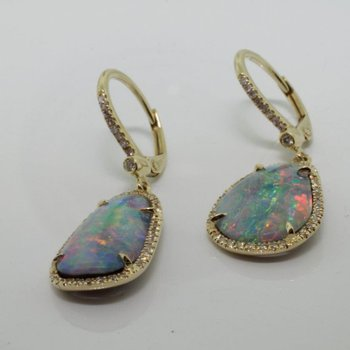 Stylish and unusual gold earrings with Australian Opals