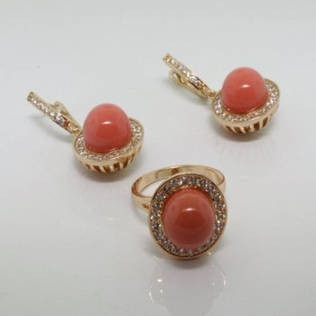 Coral set: earrings and ring