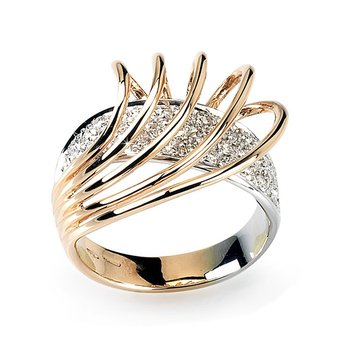 """Swirls"" fashion ring with diamonds"
