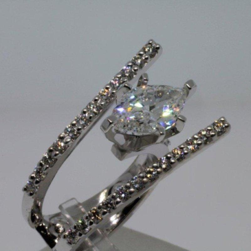 Antony Jewelers Assymetrical Marquise  Shape Centered Diamond Engagement Ring