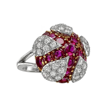 One of a kind ruby & diamond fashion ring