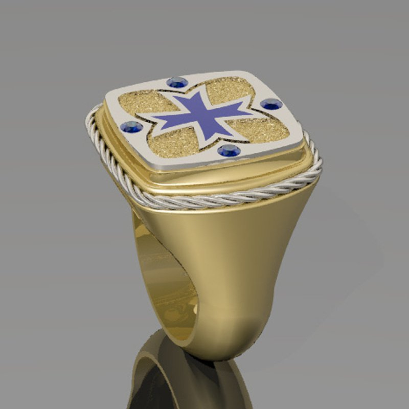 Antony Jewelers Men's Italian Cross two tone ring