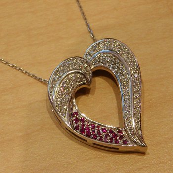 Massive heart necklace with diamonds and rubies