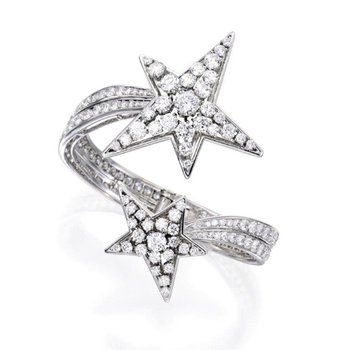 """Star"" fashion ring with diamonds"
