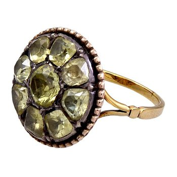 Antique style ring with yellow diamonds