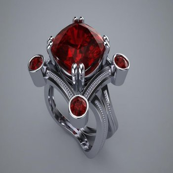 Double shank rubies fashion ring