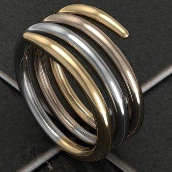 "'Swirly"" design three tone fashion ring"