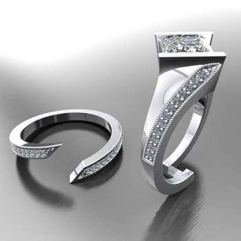 Unique fashion-forward engagement ring with matching band
