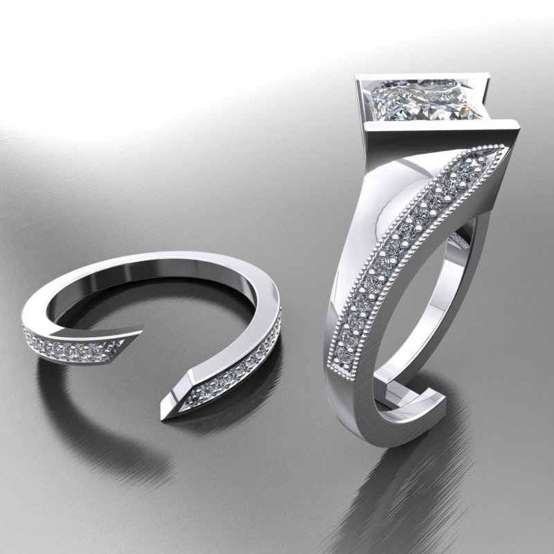 Antony Jewelers Unique fashion-forward engagement ring with matching band