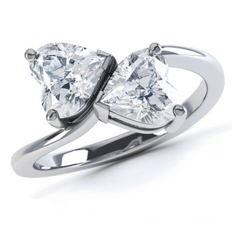 Engagement ring with diamond hearts