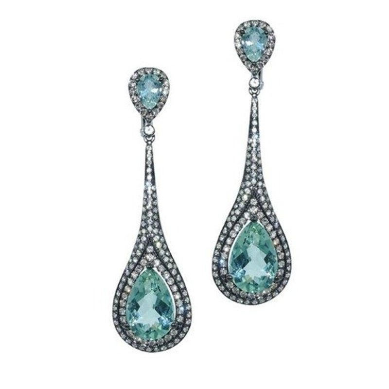 Antony Jewelers Blackened gold vintage style diamond earrings