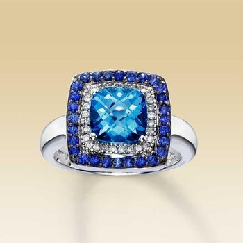 Double halo sapphire fashion ring