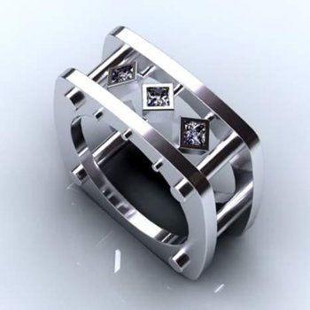 Square shape men's ring