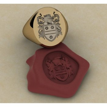 Code of arms symbol gold men's ring