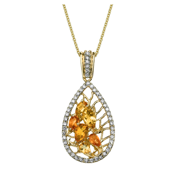 Funky pendant with diamonds and yellow citrines