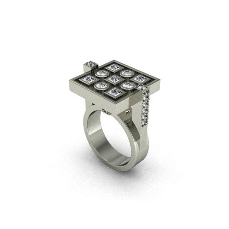 Antony Jewelers Geometrical diamond mixed fashion ring