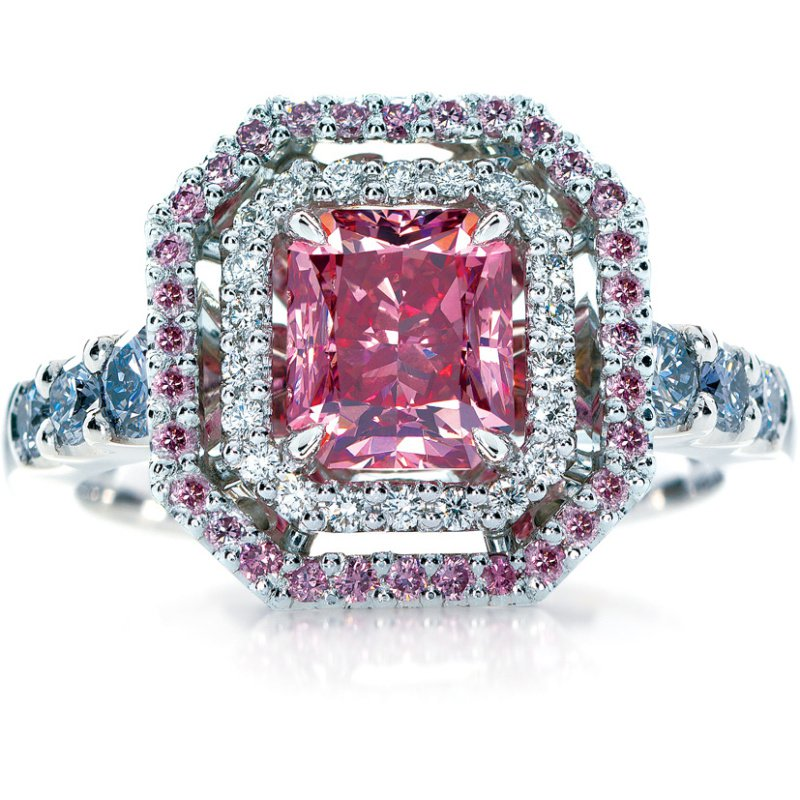 Antony Jewelers Engagement ring with multi-color diamonds