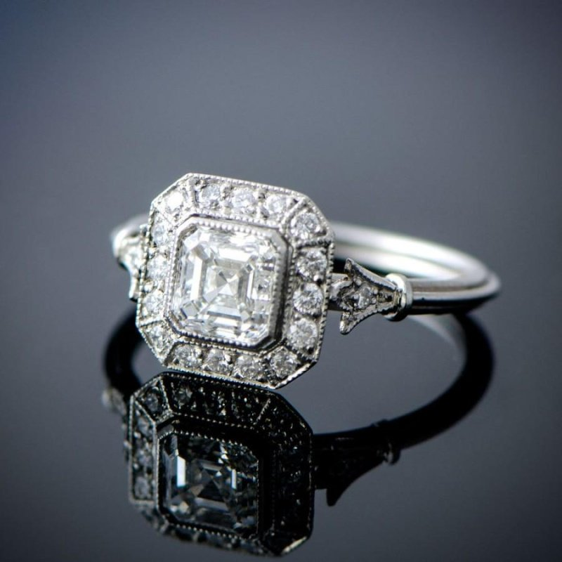 Antony Jewelers Vintage style engagement ring with Asner- Cut diamond