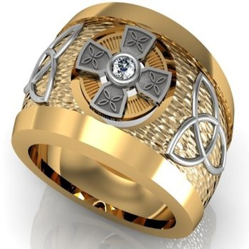 Complicated design of two tone  men's ring