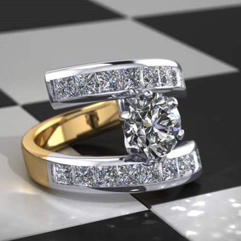 Two tone diamond engagement ring with round diamond