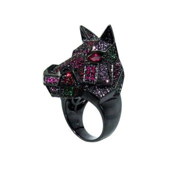 Blackened gold multicolor stones horse style ring