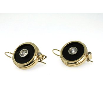 Yellow gold earrings with onyx and diamonds