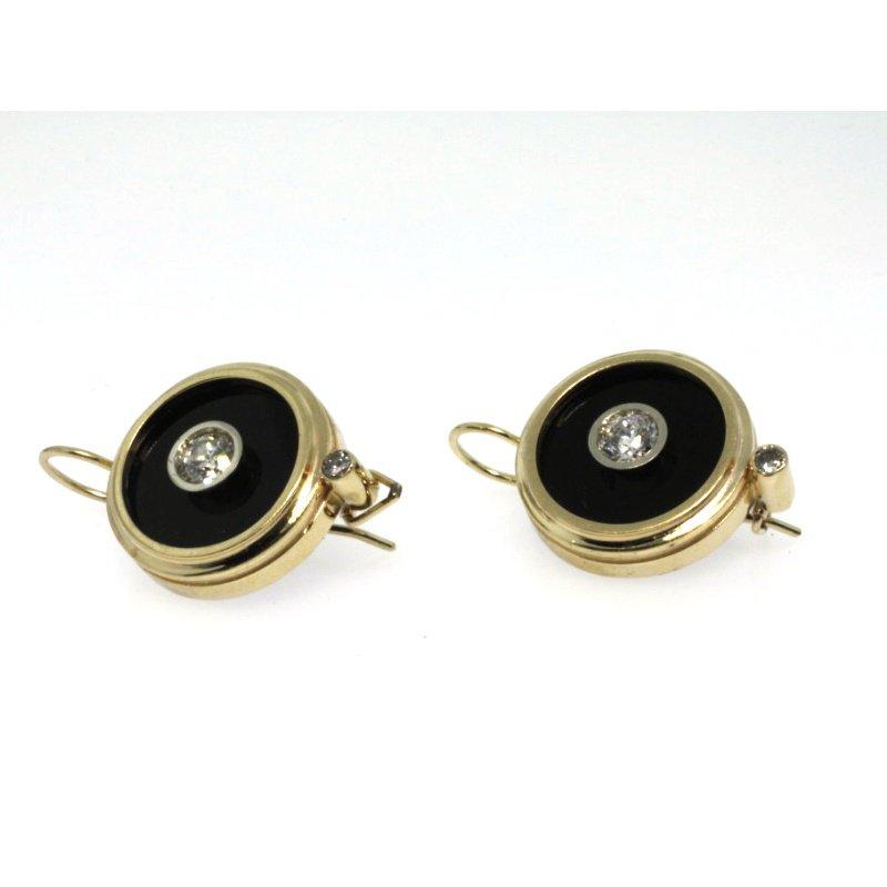 Antony Jewelers Yellow gold earrings with onyx and diamonds