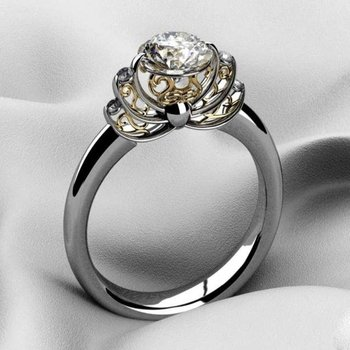 Crown style engagement ring