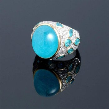 Gorgeous ring with blue opal and aquamarines