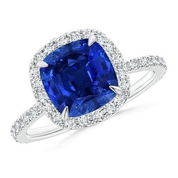 Halo Engagement ring with stunning cushion sapphire