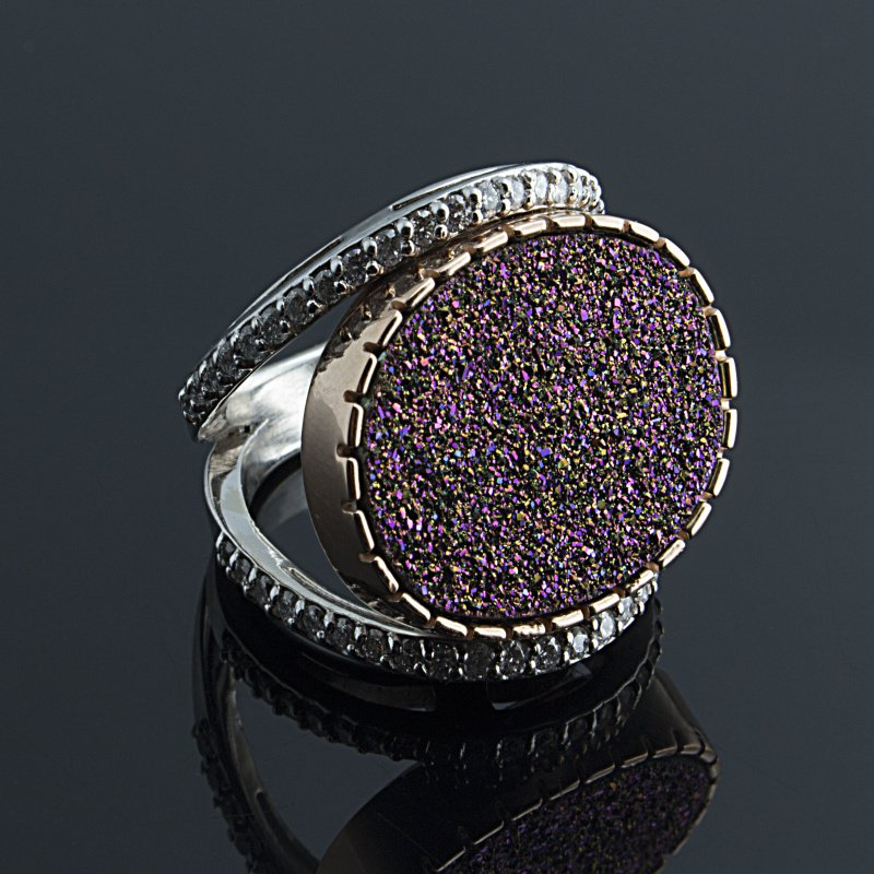 Antony Jewelers  Mystery  indian hot pink color druzy stone ring