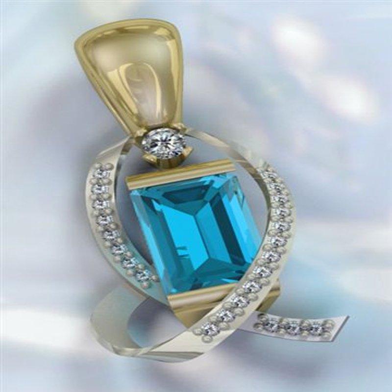 Antony Jewelers Geometrical pendant with blue topaz