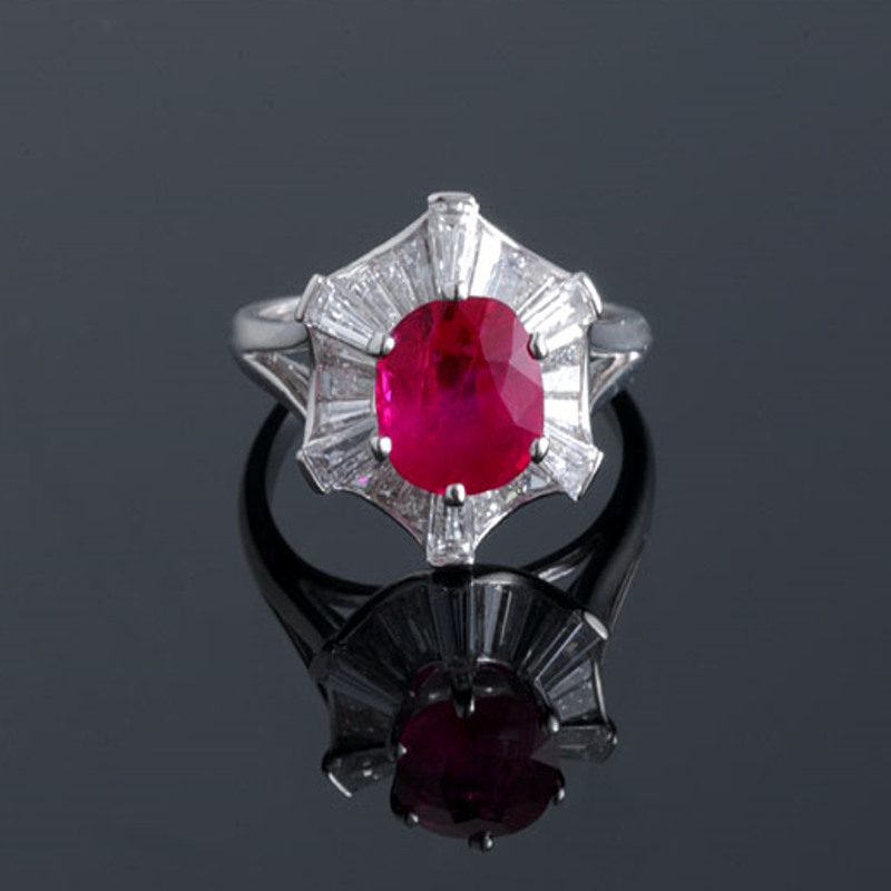 Antony Jewelers Cocktail ring with pigeon blood ruby and diamonds
