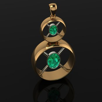 Round gold pendant with Columbian emeralds