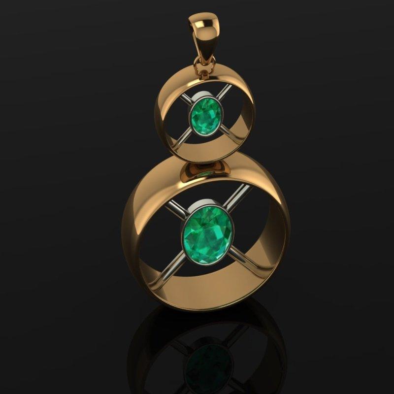 Antony Jewelers Round gold pendant with Columbian emeralds