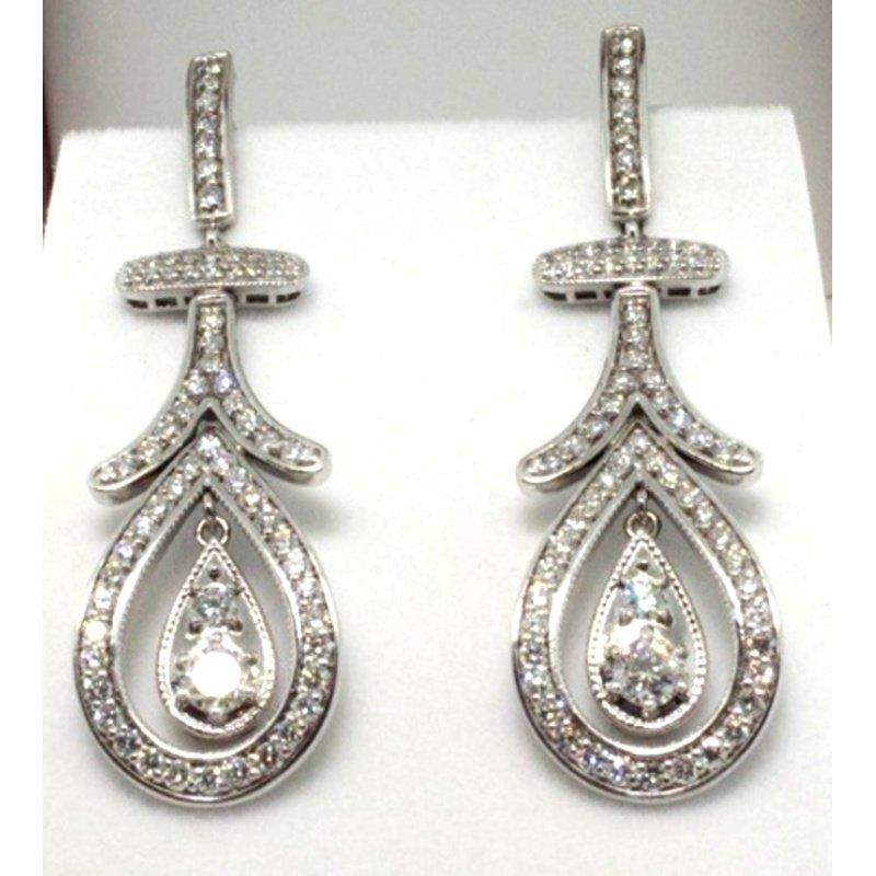 Antony Jewelers Antique style diamond earrings