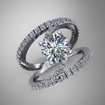 Modern by-pass engagement ring