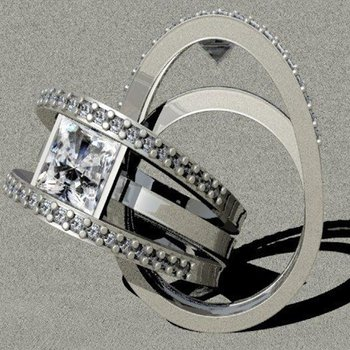 Contemporary design engagement ring with princess cut diamond