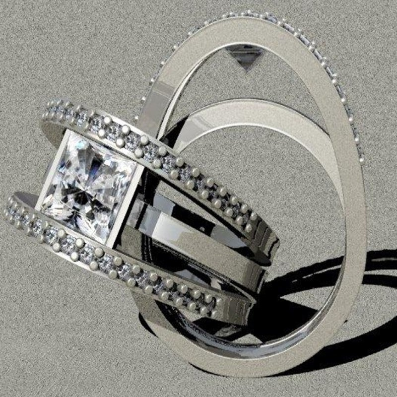 Antony Jewelers Contemporary design engagement ring with princess cut diamond