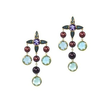 Lineur earrings with multicolor stones