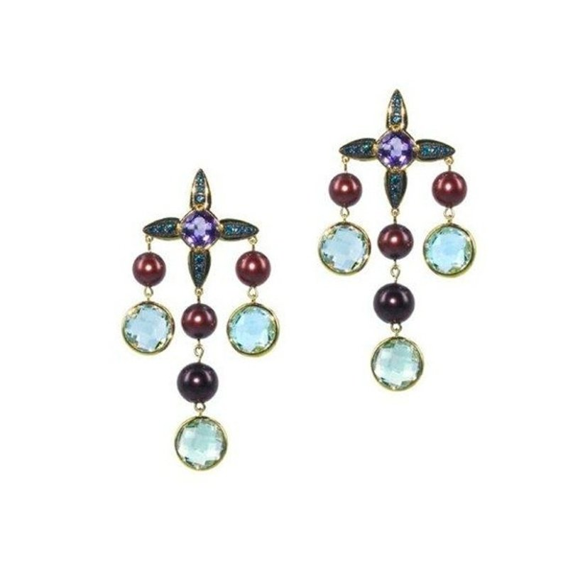 Antony Jewelers Lineur earrings with multicolor stones