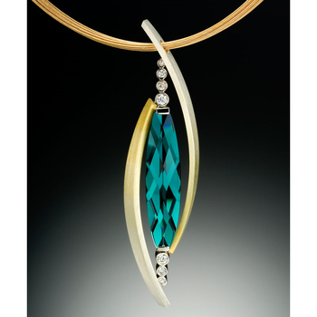 Contemporary pendant with green topaz and diamonds