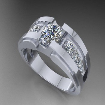 Men's ring with fancy diamonds