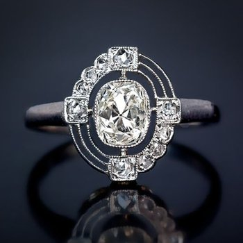 Unusual engagement ring with diamonds