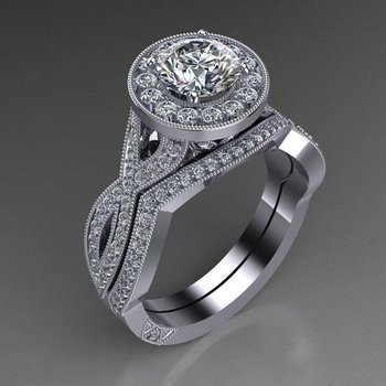 """Diamond engagement ring with """"infinity"""" shank and matching band"""